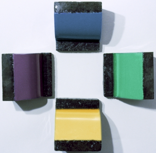 """our cast concrete and cast encaustic  wall hung sculptures each approx. 4x4x4"""" (large view)"""