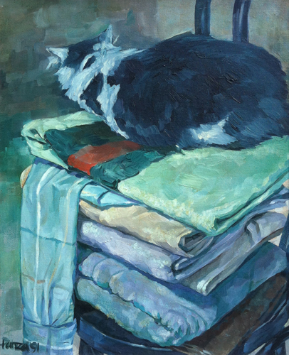 Cat on Warm Towels (large view)