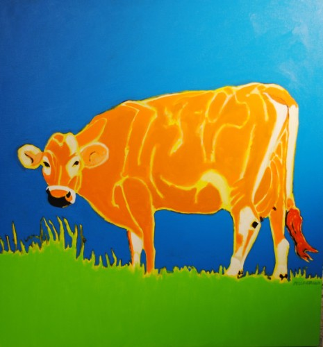 brightly coloured jersey cow....