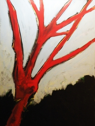 Painting--Acrylic-BotanicalRed Tree at Sunset