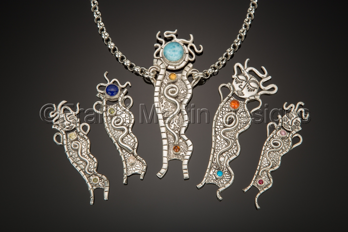 Pendants precious metal clay jewelry the goddess for Martin metal designs