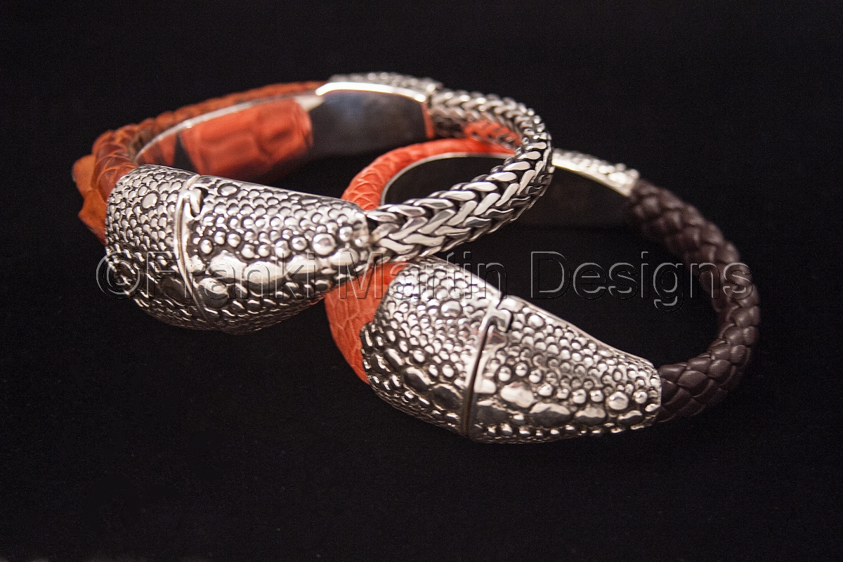 Leather and Sterling Silver Bracelets (large view)