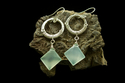 Fine Silver Earrings with Faceted Abstract Aquamarine (thumbnail)