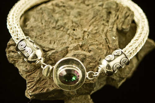 Argentium Sterling Silver Viking Knit Bracelet with Alexandrite Stone (large view)
