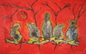 Birds with Red Background (thumbnail)