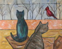 Two Cats Watching Red Bird (thumbnail)