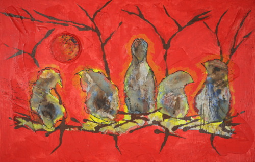 Birds with Red Background