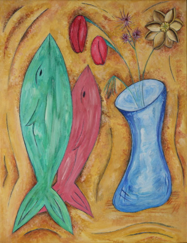 Goldfish with Blue Vase and Flowers