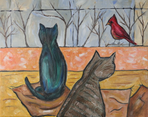 Two Cats Watching Red Bird