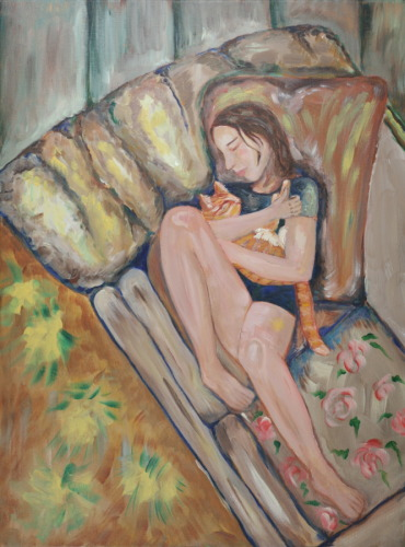 Girl with Orange Cat or Hannah and Taco