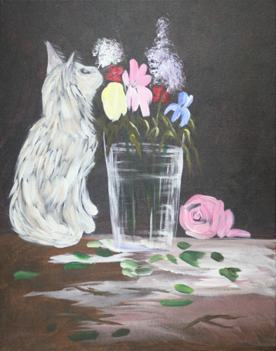 White Cat with Glass Vase and Flowers