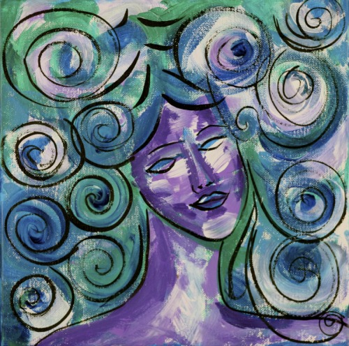 Purple Girl with Spiral Hair