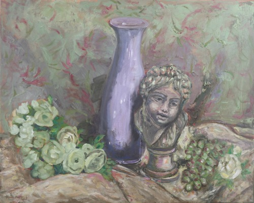 Cherub with Purple Vase and Flowers