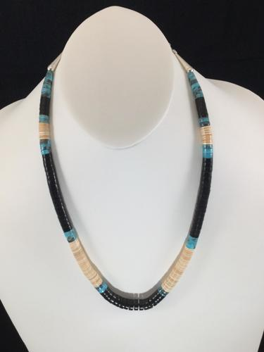 Black Jet with Melon Shell, and Turquoise