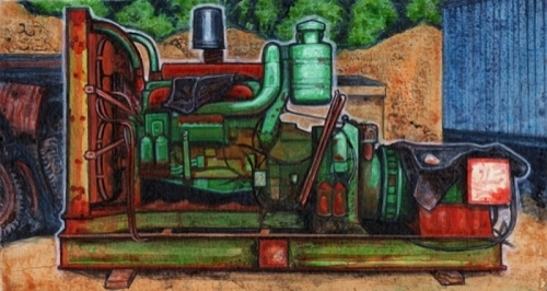 Heavy Equipment Painting : Painting quot the other green monster original art by