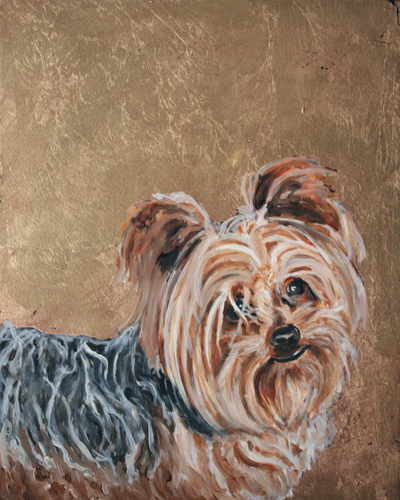 Yorkie Original oil Painting with Gold Leaf