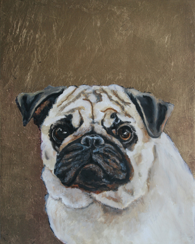 Pug 1 Original Oil Painting with Gold Leaf