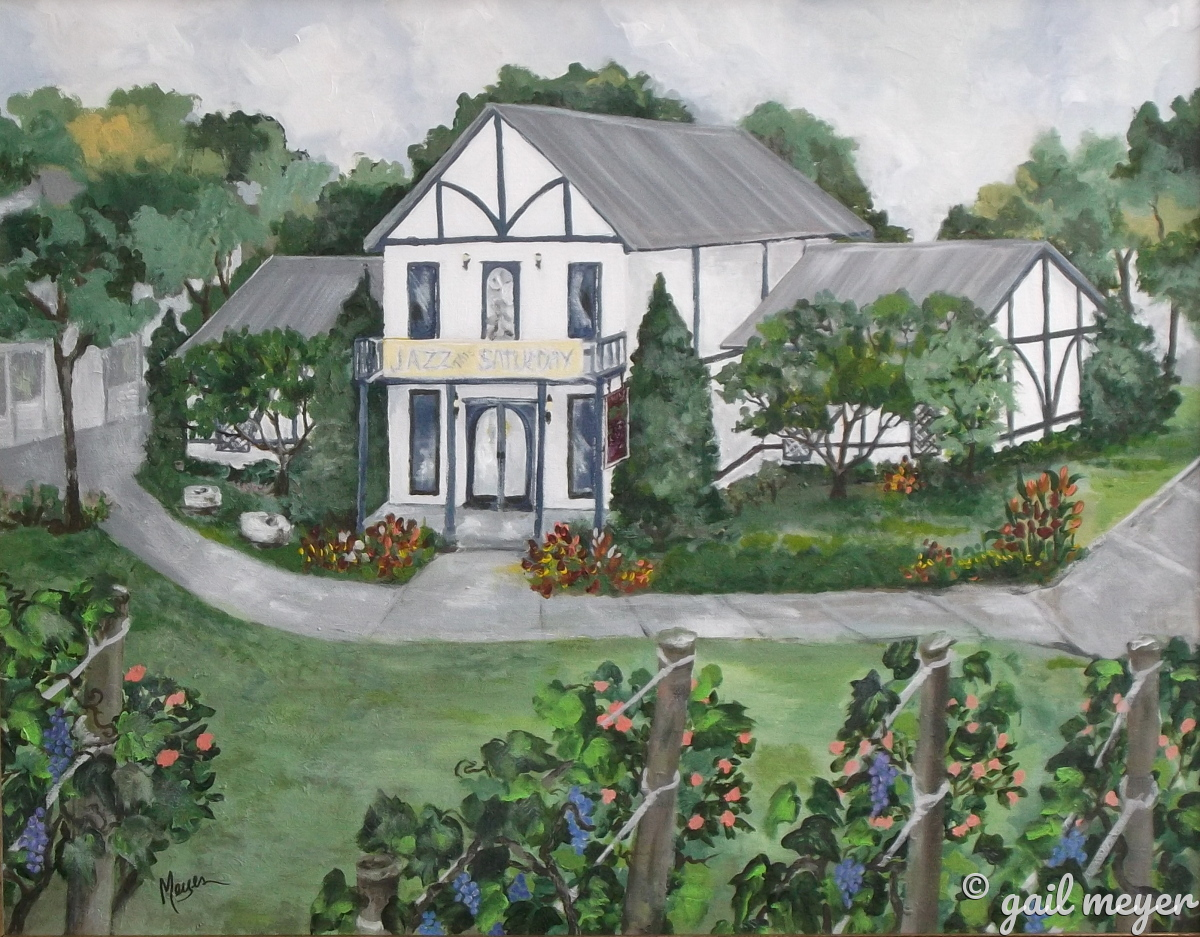 Beach Haven Winery located in Clarksville, TN where Jazz on the Lawn is a special summer event. Original Painting by Gail Meyer. Best wine in the south.  (large view)