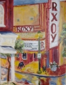 Artist Gail Meyer paints the Roxy in Clarksville, Tennessee in an expressiontic style with acrylices on paper (thumbnail)