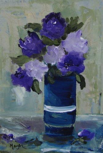 Painting--Acrylic-FloralPurple Rose Vase
