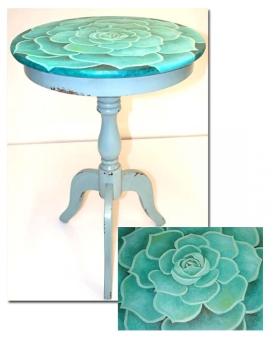 teal succulent side table