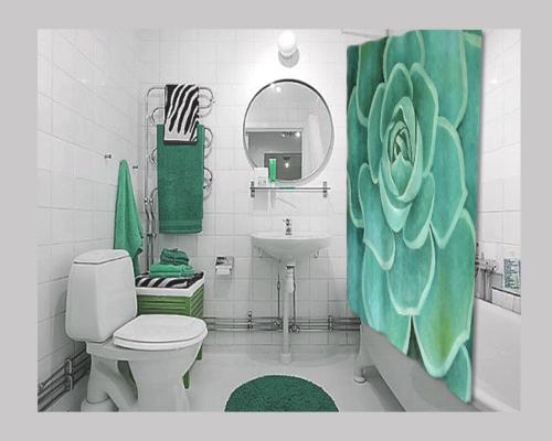 Teal Succulent Shower Curtain
