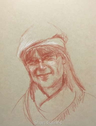 Self-portrait in a Newsboy Cap and Scarf