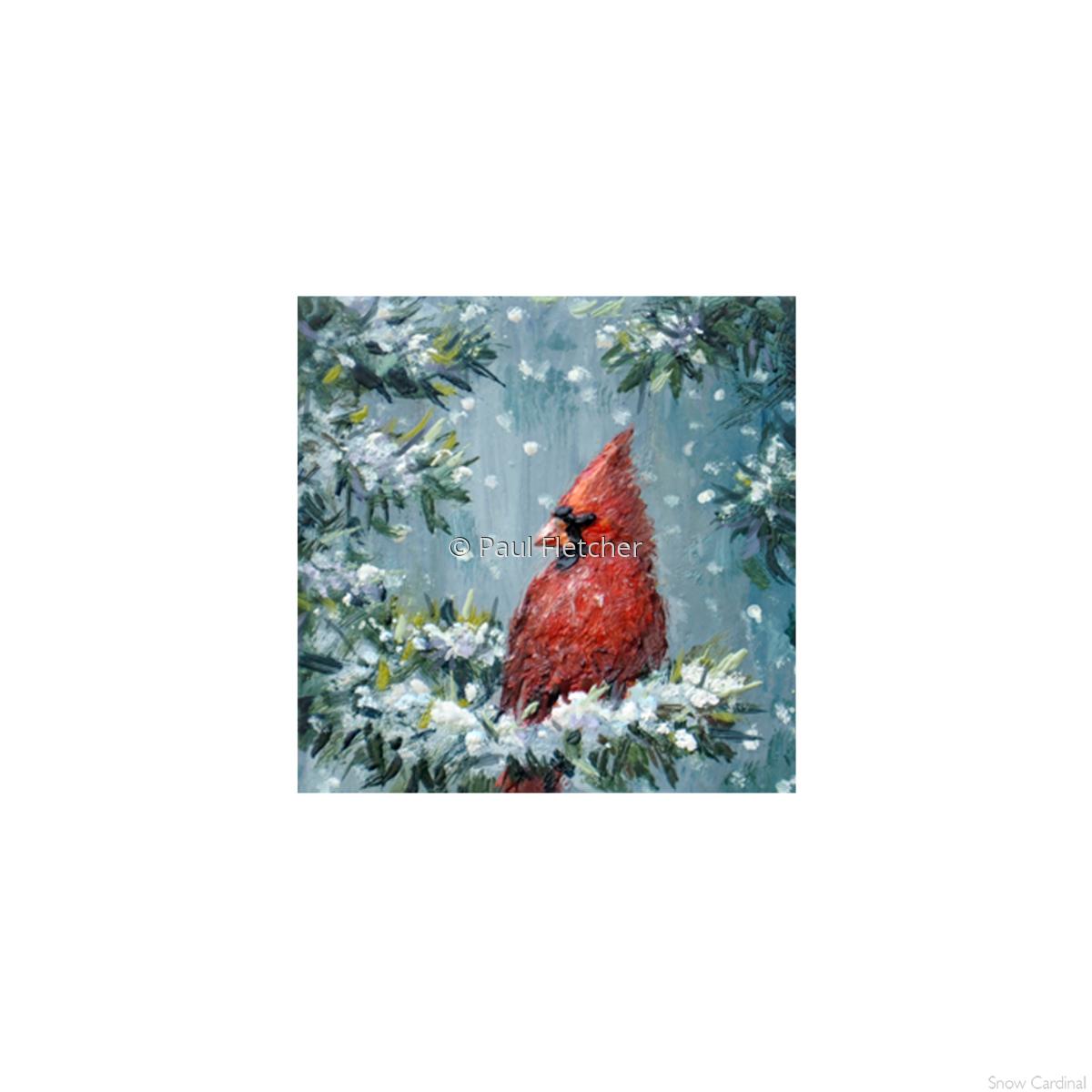 Snow Cardinal ~ 5X5 (large view)