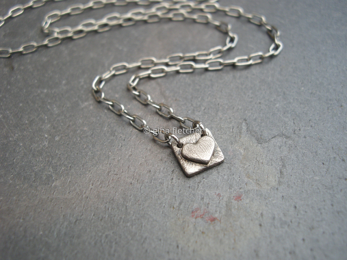 n e c k l a c e . . . white copper . . . heart  . . . #918 (large view)