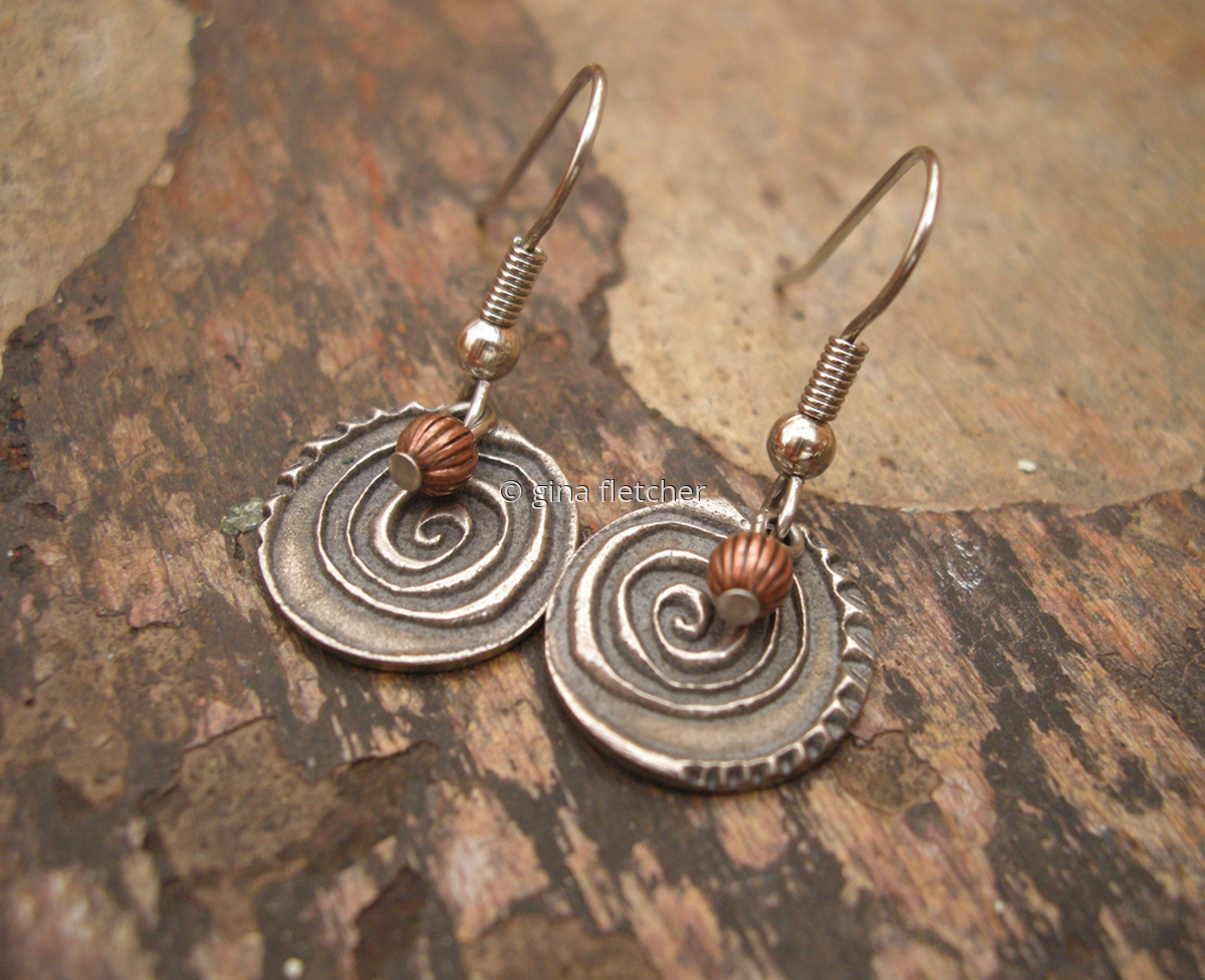 e a r r i n g s . . . white copper . . . copper . . . #951 (large view)
