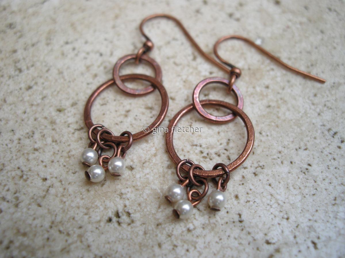 e a r r i n g s . . . copper hoops . . . pearls . . . # 969 (large view)