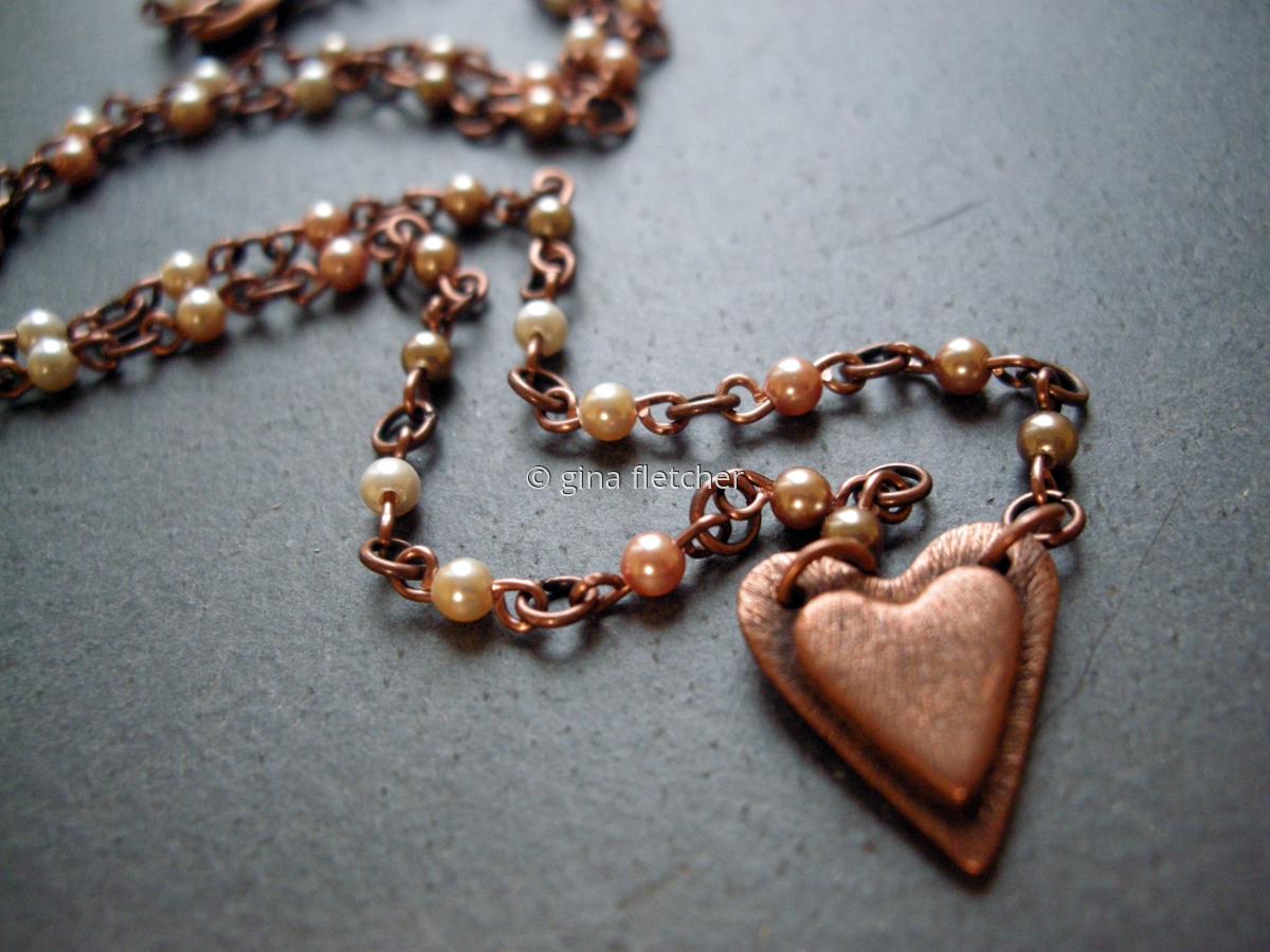 n e c k l a c e . . . heart . . . copper . . . pearls . . . #025 (large view)