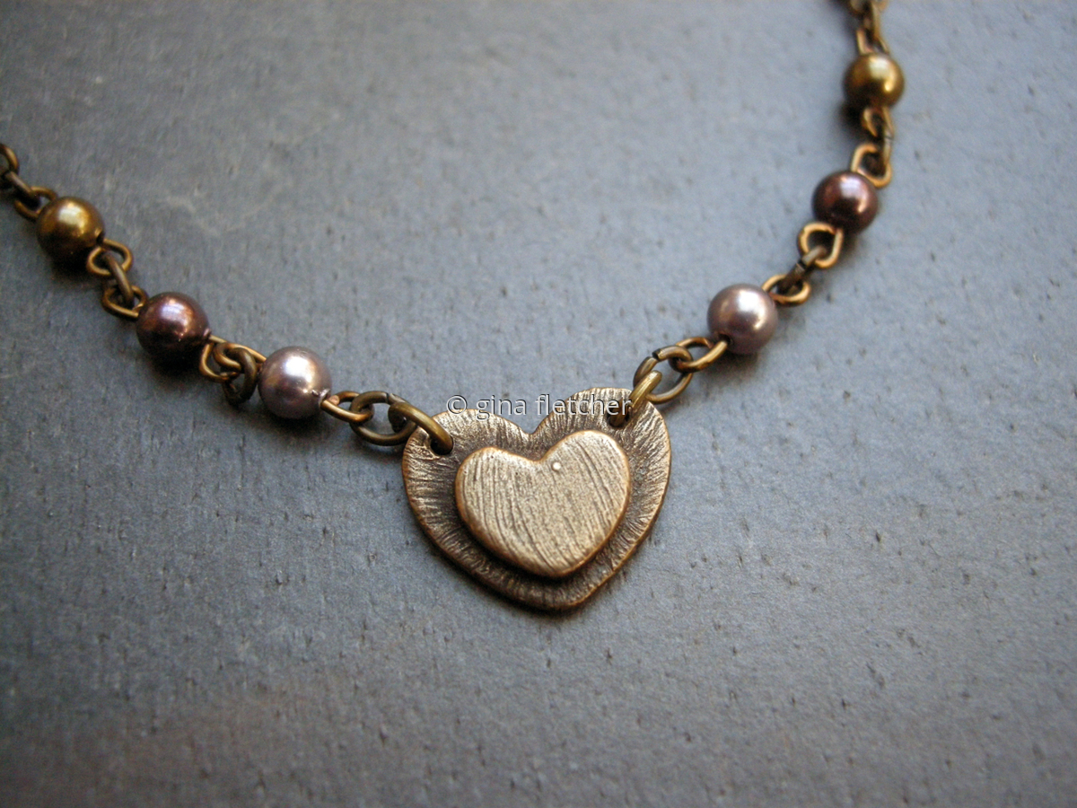 n e c k l a c e . . . . heart . . . bronze . . . pearls . . . #034 (large view)
