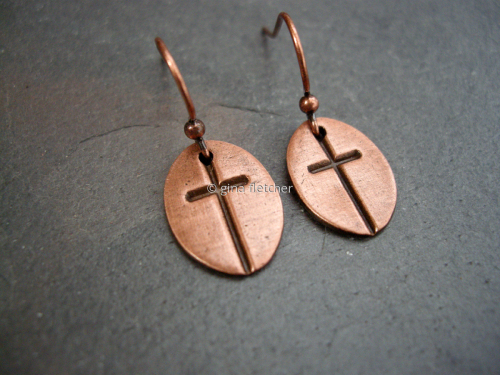 e a r r i n g s . . . copper . . . cross . . . #900 (large view)