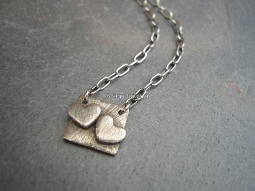 n e c k l a c e . . . white copper . . .two  hearts . . . #038 (large view)