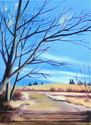 Gary Krause, Cheyenne, Wyoming, oil, canvas, winter, trees, color, path - Landscape Painting