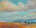 Gayle Lewis, Landscape painting, New Mexico clouds, rain shower - Landscape Painting