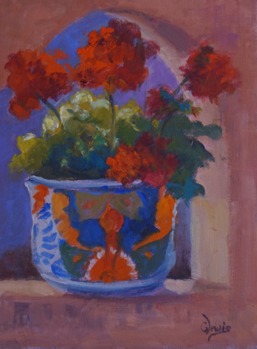 Mexican Pot & Geraniums by Gayle Lewis