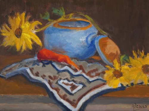 Blue Pottery by Gayle Lewis