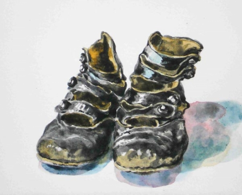 black baby shoes (large view)