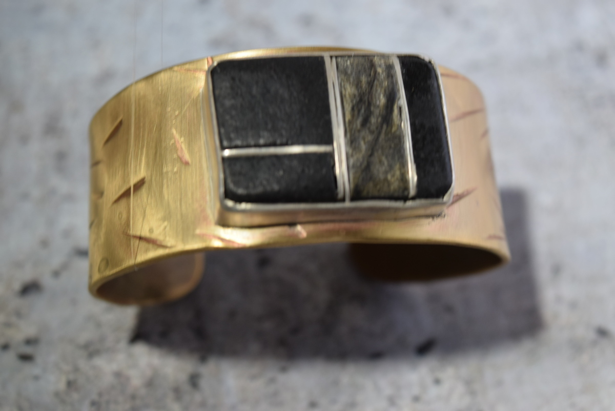 Brass and stone cuff (large view)