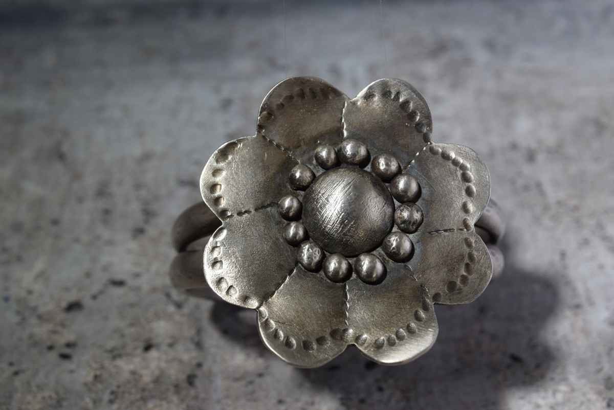 Sterling silver flower cuff (large view)