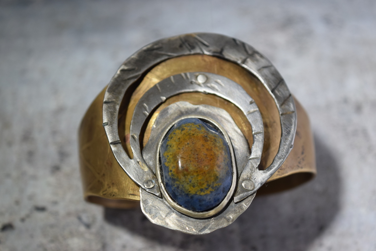Brass and steel cuff with stone (large view)