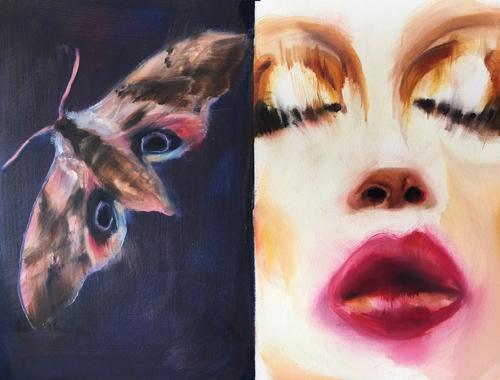 Moth & Face Study by GEORGIA PESKETT