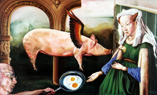 Pig, eggs, Van Eyck (large view)