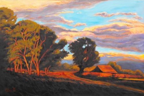 Sundown on the Ranch by Gina Grundemann, Colorado Landscape Painter