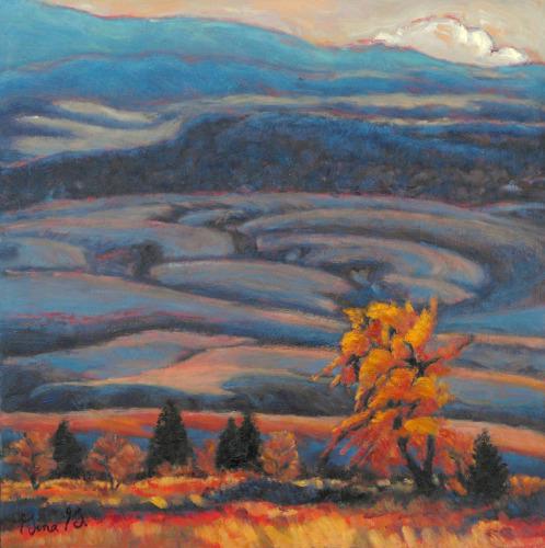 Rolling Fields of Blue by Gina Grundemann, Colorado Landscape Painter