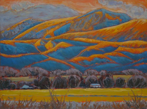 Even the Adobes get the Blues by Gina Grundemann, Colorado Landscape Painter
