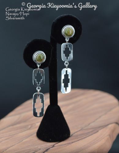 Unakite, 2 Rectangle Rug Design Post Earrings by Kieyoomia Gallery