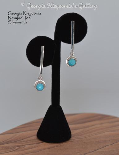 Kingman Turquoise Long Post Earrings by Kieyoomia Gallery